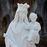 Tallado en piedra Reigious estatua de mármol de Santa María con el Niño Jesús (T-6410)