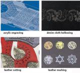 Láser CO2 dinámica máquina de la marca de la ropa del patrón que ahueca