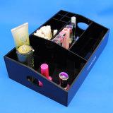 Rectángulo de almacenaje cosmético de múltiples funciones de acrílico negro