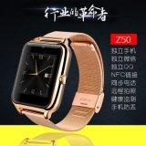 2016タッチ画面SIMのカードスロットの携帯電話Bluetoothが付いている新しい到着Z50の金属ストラップのスポーツの腕時計