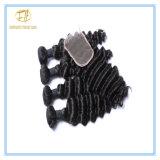 Peruanische tiefe Wellen-natürliches Farben-Jungfrau-Haar mit vollem Häutchen Wfpdw-001