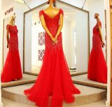 Cap Sleeves Party Prom Dresses Custom Beading Evening Gown E16831