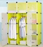 Venta de la cabina del guardarropa de la sala de estar, guardarropa plástico con la percha de ropa poste, guardarropas plegables baratos del dormitorio del panel DIY de los PP (EP-14)