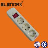Euro 3 Vias 16A faixa de alimentação de extensão e o interruptor (E5003ES)