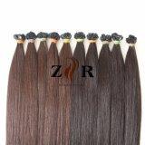 Au milieu de la cuticule Brown cheveux mongole à embout plat d'extension de cheveux