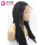 Nachtanlieferungs-Spitze-Vorderseite-Perücke für Torsion-umsponnenes Haar-Hochtemperaturfaser-Perücke schwarze Frauensynthetisches des Afro-2X