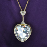 China Supplier Big Rhinestone Heart Fashion Necklace for Valentine