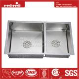 Bassin fabriqué à la main, radius d'acier inoxydable sous le bassin de cuisine fabriqué à la main de cuvette de double d'égale de support