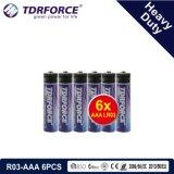 1.5V China Fabrik-Zink-Kohlenstoff-Batterie-Großhandelspreis (R6-AA 6PCS)