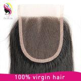 Кружевной закрытие 4*4 норки Barzilian прав прямые волосы