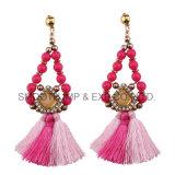Perlas de Color con flecos largos pendientes étnicos Moda Mujer complementos Joyas
