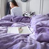 Reeks van het Beddegoed van de Vacht van het Flanel van de Polyester van het huis de Textiel Purpere Chinese