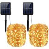 Lampada calda autoalimentata solare dell'indicatore luminoso leggiadramente della stringa del collegare di rame LED di bianco 120LED