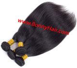 100% de cabelo humano Seda Máquina Reta feita a tecelagem de cabelo