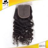Fechamento frontal brasileiro do laço do cabelo 5X5 humano com pacotes
