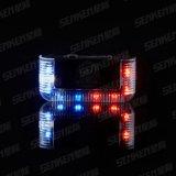 Senkenの赤く青く白いこはく色IP66 10時間の500メートルストラップの警察再充電可能なLEDのストロボの点滅の肩ライト