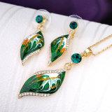 Conjunto pendiente de la joyería de la nueva del diseño del verde manera africana del esmalte