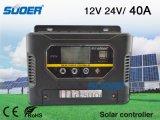 Suoer 12V 40A PWM controlador de carga solar para sistema de energia solar (ST-W1240)