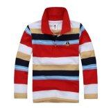 Heet verkoop de Zachte Gestreepte Overhemden van het Polo van de Koker van de Jongens van het Ontwerp Lange 50 Beschikbare Kleuren