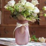 El repujado diseño de corazón Flor florero de vidrio
