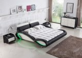 C025 새로운 디자인 LED 점화를 가진 가죽 침대 침실 가구