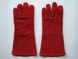 Trabalho vermelho Glove-6504.5 da soldadura do couro rachado da vaca