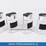 4正方形様式のステッカーが付いているガラススパイスのびんのセット