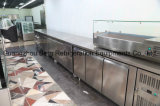 Refrigerador de comida de aço inoxidável de cozinha comercial de 3 portas