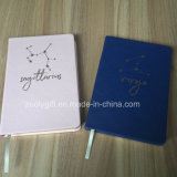 Customize Gold Hot Stamping Logo Software PU Leather Cover Notebook with Gold Foil Edge