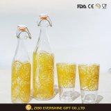 Bouteille en verre décorative de lait de gosses de verrerie de dessin animé