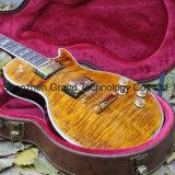 DIY LPのギターキット/二重トラの炎のかえで上の最高LP様式のエレキギター(GLP-81)