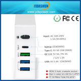 cargador múltiple del recorrido del USB de la estación del cargador de 80W 5-Port con la carga y el tipo carga del control de calidad del paladio de C