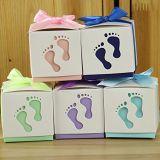 La moda bebé pie Caja de caramelos de dulce de papel para Baby Shower a favor de la bolsa de caramelos de bautismo cajas Recipiente 6*6*6cm.