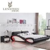 C025新しいデザインLEDの照明の革ベッドの寝室の家具