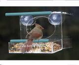 Alimentador grande plástico claro del pájaro de la ventana