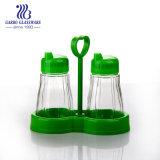 3PCS condimento de vidro conjuntos com 100ml Pimenta vaso de sal e suporte de aço inoxidável