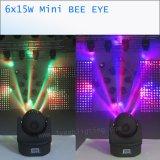 6X15W 소형 LED 광속 이동하는 맨 위 가벼운 꿀벌 눈