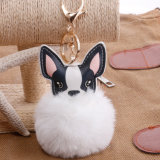 Hot Sale véritable sac de fourrure de renard Hanger Fuzzy trousseau à billes