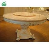 Da mobília luxuosa de madeira elegante da sala de jantar do hotel redonda branco jantar