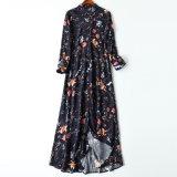 女性の服のアメリカ順序の絹の花の長いワイシャツそしてスリット服