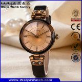 Montre-bracelet de femme de quartz de courroie en cuir d'OEM/ODM (Wy-100B)