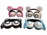 Karikatur-Bären-Ohr-faltbarer Kopfhörer mit Chargble Farben-Licht für Mädchen Chritmas Geschenk