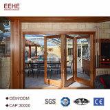 Estrutura de madeira madeira maciça porta deslizante de vidro americano