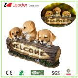 屋外の装飾のための熱く愛らしいPolyresin歓迎された犬の子犬の庭の彫像の装飾