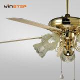 52 인치 유리제 램프를 가진 고대 금관 악기 수정같은 장식적인 천장 선풍기