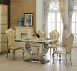 우아한 현대 스테인리스 꽃 모양 뒤 식사 의자