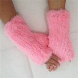 Норки мех/белого меха Earmuff разъем для наушников и вязаные рукавицы сенсорного экрана
