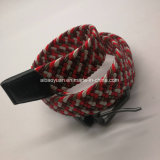 Fashion Unsex Elastic polyester and Leather Woven Belt