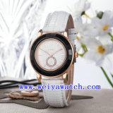 De Polshorloges van de Luxe van het Leer van het Horloge van het Ontwerp van de douane voor Vrouwen (wy-023D)