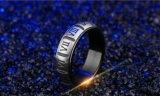 Números Romanos romántica de acero inoxidable 316L par Ring Anillo de diseño de moda para hombres y mujeres